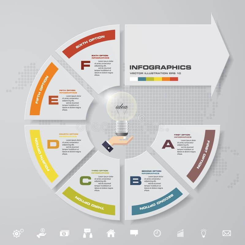 Moderne 6 stappen met pijl infographic element met reeks pictogrammen voor presentatie vector illustratie