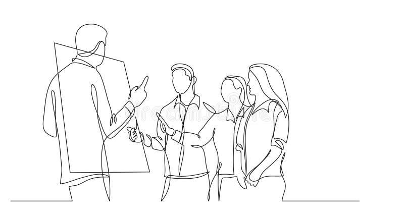 Moderne Startteammitglieder, die nahe whiteboard - ein Federzeichnung sich besprechen vektor abbildung