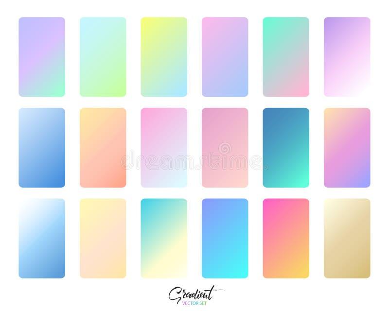 Moderne Steigung eingestellt mit quadratischen abstrakten Hintergründen Modische weiche Farbe Bunte flüssige Abdeckung für Plakat lizenzfreie abbildung