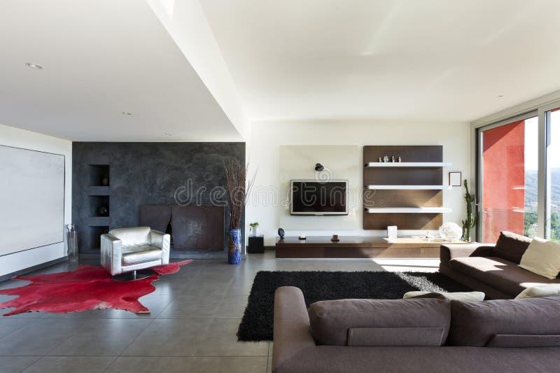 Moderne stijl, woonkamer stock afbeeldingen