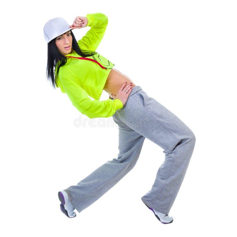 Moderne stijldanser die sommige bewegingen tegen geïsoleerde witte achtergrond tonen stock fotografie