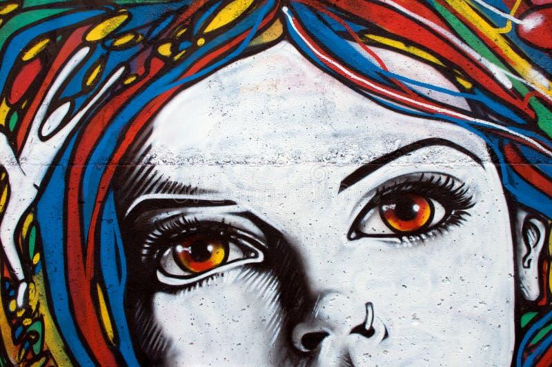 Moderne stijlgraffiti op bakstenen muur stock foto's