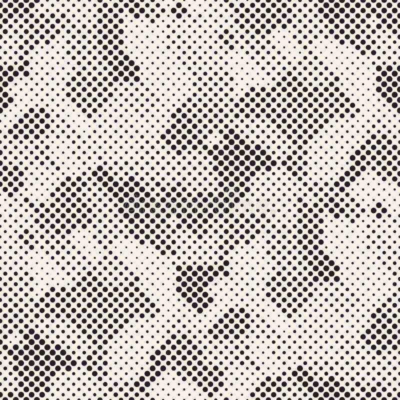 Moderne stilvolle Halbtonbeschaffenheit Endloser abstrakter Hintergrund mit gelegentlichen Kreisen Vektor-nahtloses Mosaik-Muster vektor abbildung