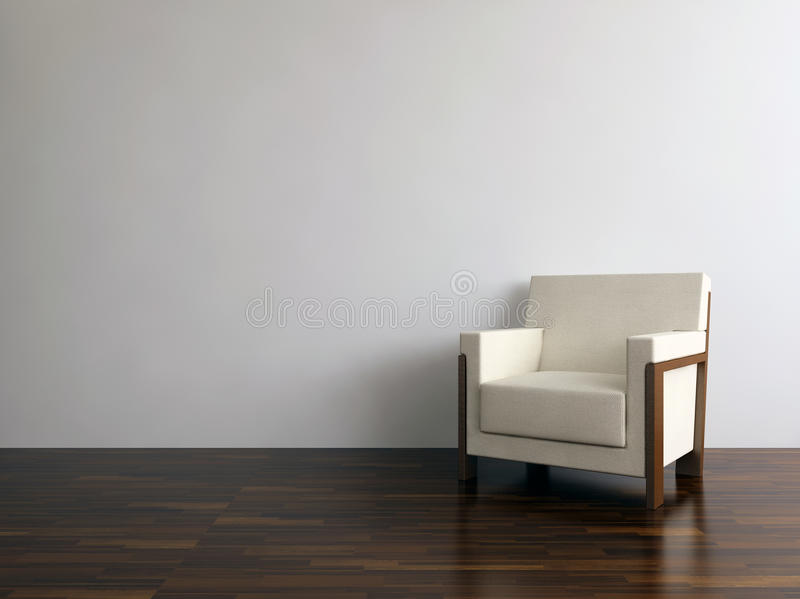 Moderne stoel om een blinde muur onder ogen te zien