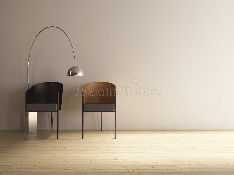 Moderne stoel twee om een blinde muur onder ogen te zien stock afbeelding