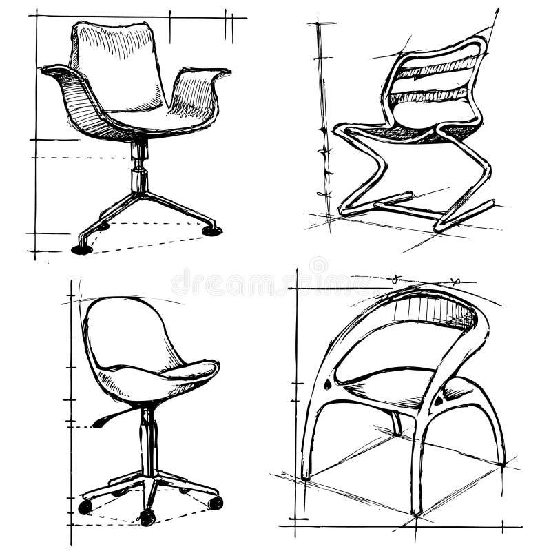 Moderne stoelenillustratie stock illustratie