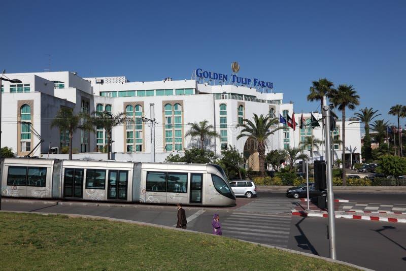 Moderne Straßenbahn in Rabat, Marokko lizenzfreie stockbilder