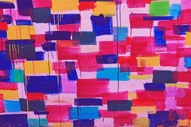 Moderne Straßenkunst-Wandgraffiti in den klaren Farben stockbild