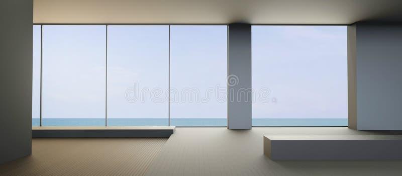 Moderne Strand het leven eigentijdse en Schone zetel op Overzeese mening stock foto's