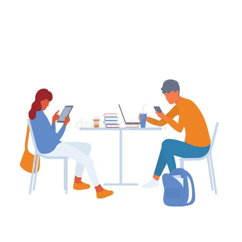 Moderne studenten gebruikend gadgets om informatie te verzamelen of wordend afgeleid vector illustratie