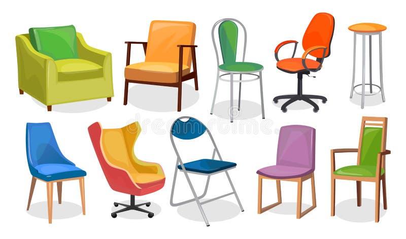 Moderne Stuhlmöbelsammlung Bequeme Möbel für Wohnungsinnenraum oder -büro Bunte Karikaturstühle stellten an lokalisiert ein stock abbildung
