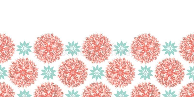 Moderne stylisé waterlily ou conception horizontale de frontière de mandalas de fleurs de dahlia dans la pêche et le bleu Descrip photographie stock
