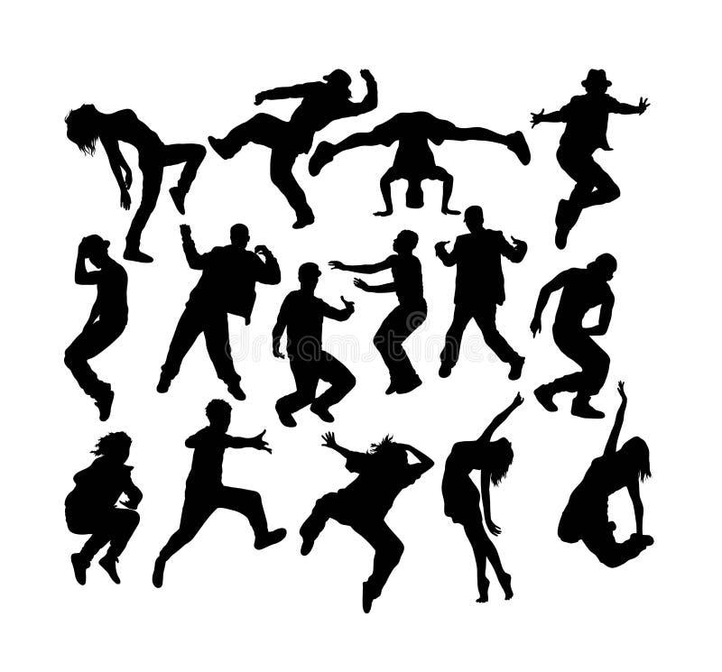 Moderne Tanzen-Schattenbilder, Kunstvektordesign lizenzfreie abbildung