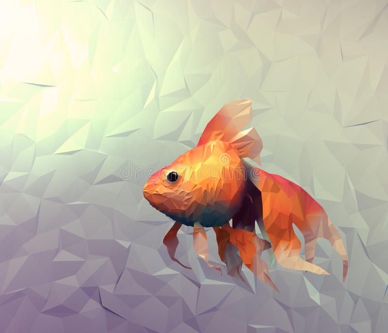 Moderne Tapete des Goldfisches. Illustration des Dreieckmosaik-Planums 3d lizenzfreie abbildung