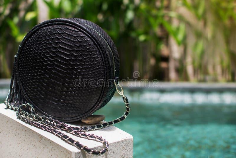 Moderne Tasche der schwarzen Frau Schließen Sie oben von der Luxustasche stilvoller weiblicher snakseskin Pythonschlange draußen  lizenzfreies stockfoto