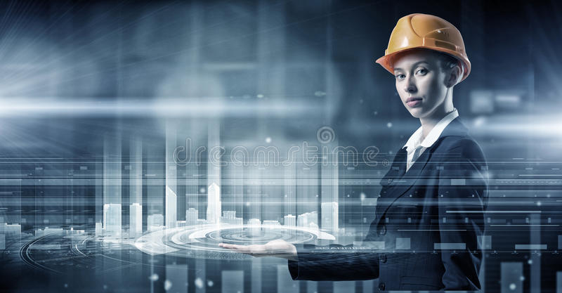 Moderne technologieën in gebruik Gemengde media stock foto's