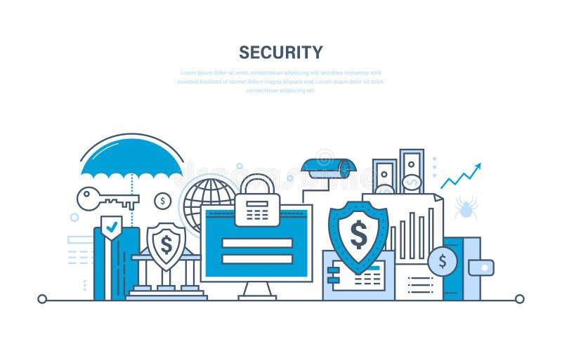 Moderne technologieën, veiligheid en gegevensbescherming, betalingswaarborg, financiën royalty-vrije illustratie