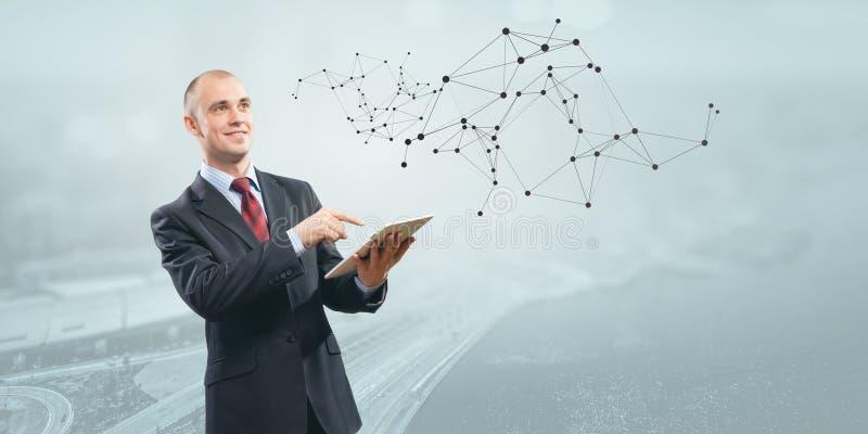 Moderne technologieën voor zaken Gemengde media stock afbeeldingen