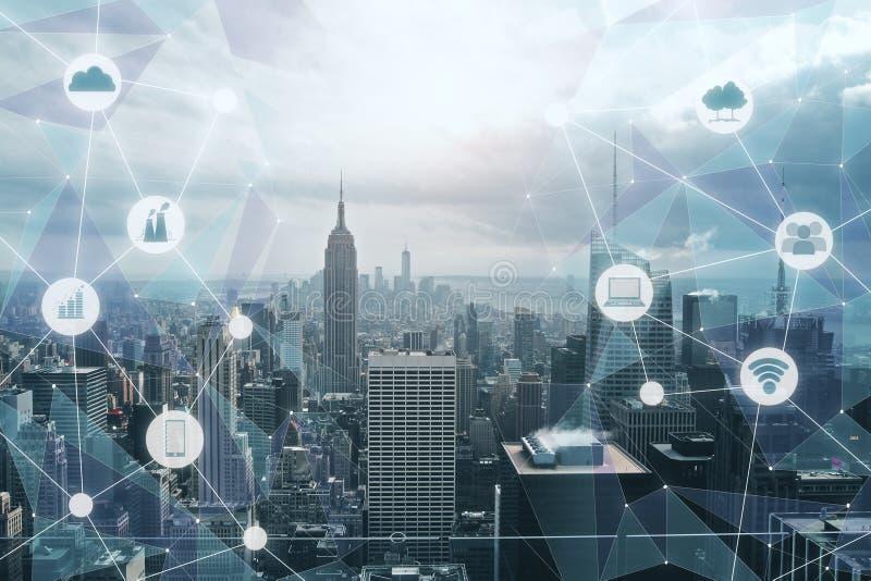 Moderne technologie-stadsachtergrond royalty-vrije stock foto
