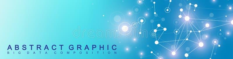 Moderne technologiebanner Geometrische abstracte presentatie Communicatie achtergrond Lijnenvlecht en punten cybernetisch stock illustratie