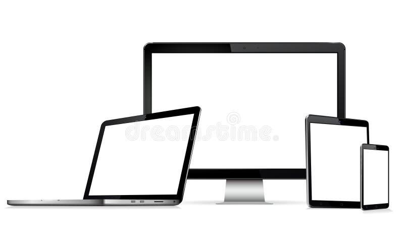 Moderne Technologiegeräte - Computermonitor, Laptop, digitale Tablette und Handy mit leerem Bildschirm lizenzfreie abbildung