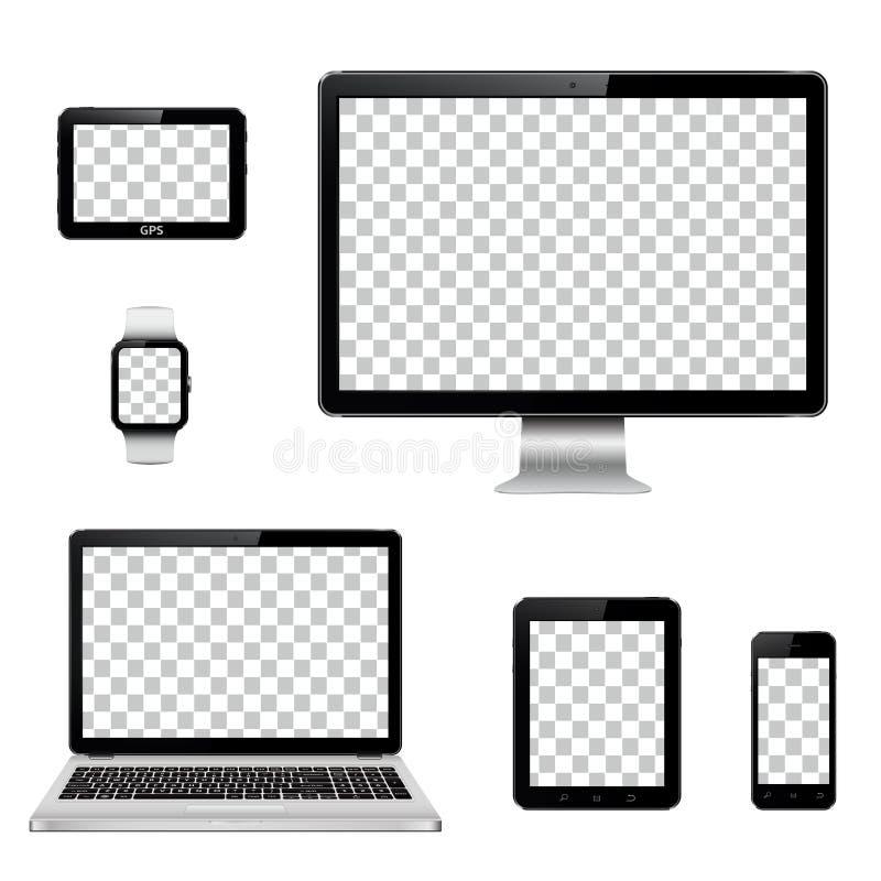 Moderne Technologiegeräte mit dem transparenten Tapetenschirm lokalisiert vektor abbildung