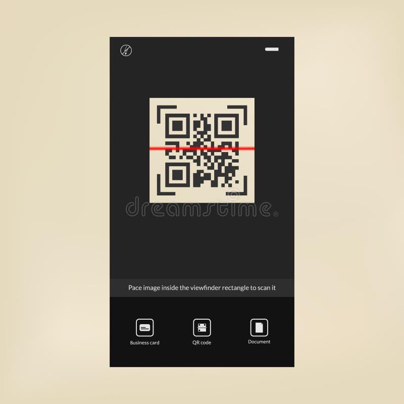 Moderne tecknology QR codescanner De interface van de streepjescodelezer vector illustratie