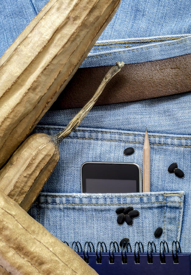 Moderne telefoon in oude jeanszak royalty-vrije stock afbeeldingen