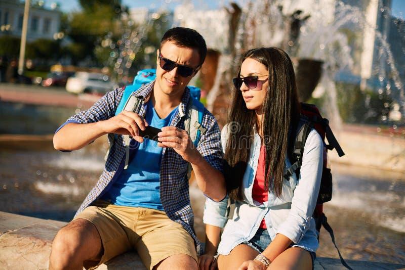 Moderne toeristen stock afbeeldingen
