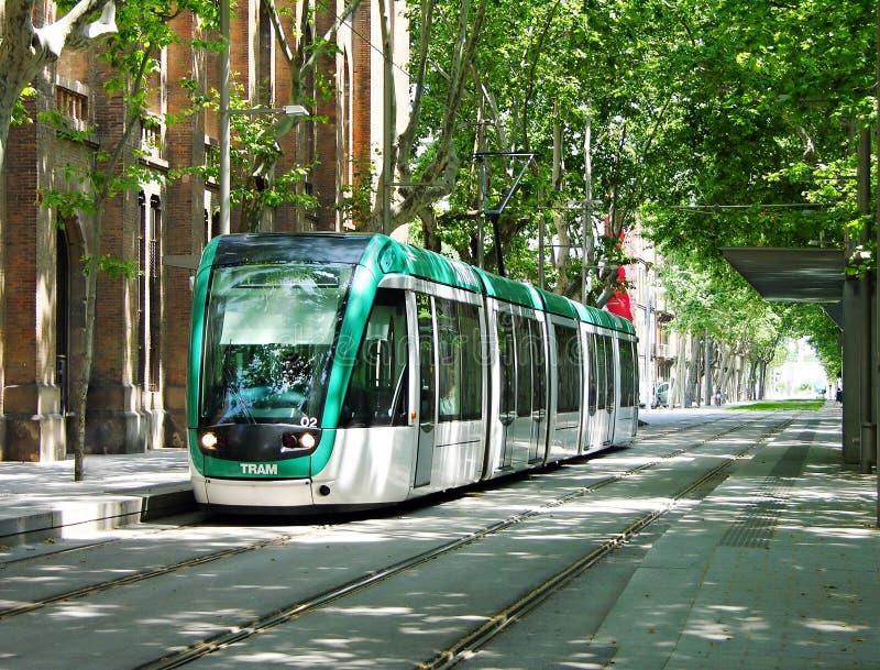 Moderne tram in Barcelona royalty-vrije stock afbeeldingen