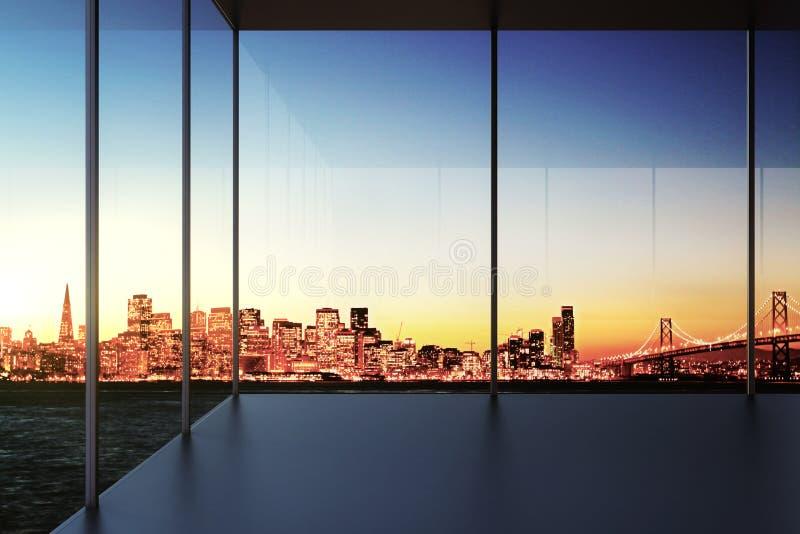 Moderne transparante lege ruimte met stadsmening bij zonsondergang royalty-vrije stock afbeelding