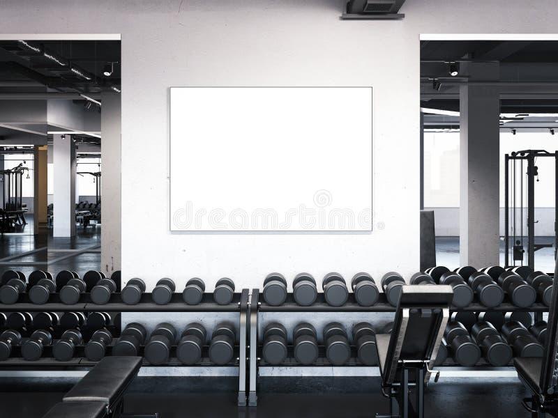 Moderne Turnhalle mit Plakat auf der Wand Wiedergabe 3d vektor abbildung
