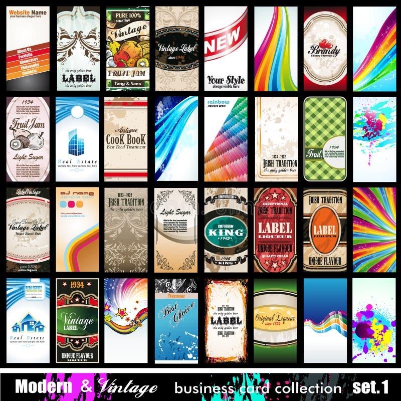 Moderne u. Weinlese-Visitenkarte-Ansammlung - Set 1 lizenzfreie abbildung