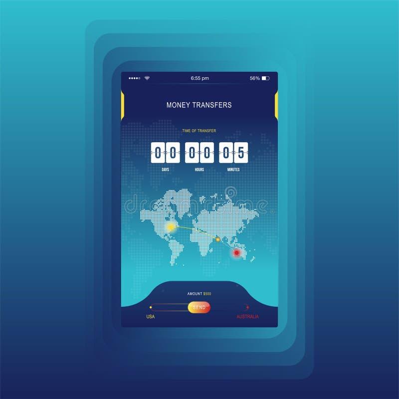 Moderne UI Mobiele app voor online overdrachtgeld met tijdopnemeraftelprocedure UX-toepassing en vlakke Webpictogrammen met werel vector illustratie