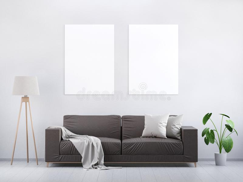 Moderne uitstekende woonkamer Bruine leerbank op een grijze houten vloer en een lichte muur 3d geef terug stock afbeeldingen