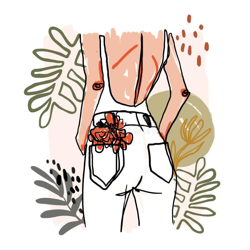 Moderne unbedeutende Continuoslinie Frauporträt Modische abstrakte Illustration Vektor farbige Kunst Frau mit Blumen lizenzfreie abbildung