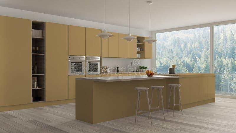 Moderne unbedeutende gelbe und hölzerne Küche mit Insel und großem panoramischem Fenster, Parkett, hängende Lampen, zeitgenössisc stock abbildung