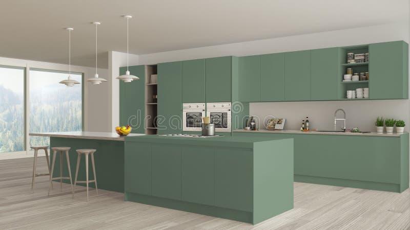 Moderne unbedeutende grüne und hölzerne Küche mit Insel und großem panoramischem Fenster, Parkett, hängende Lampen, zeitgenössisc vektor abbildung