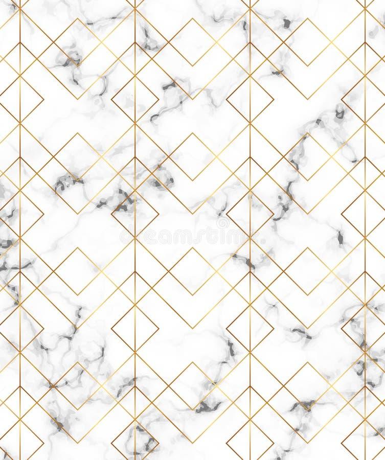 Moderne unbedeutende weiße Marmorbeschaffenheit mit Goldgeometrischen Linien, Raute und Dreieckmuster Hintergrund für Designfahne lizenzfreie abbildung