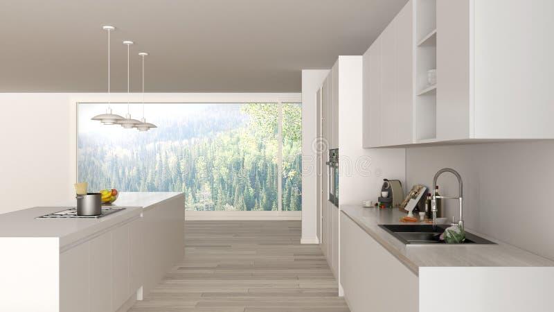 Moderne unbedeutende weiße und hölzerne Küche mit Insel und großem panoramischem Fenster, Parkett, hängende Lampen, zeitgenössisc stock abbildung