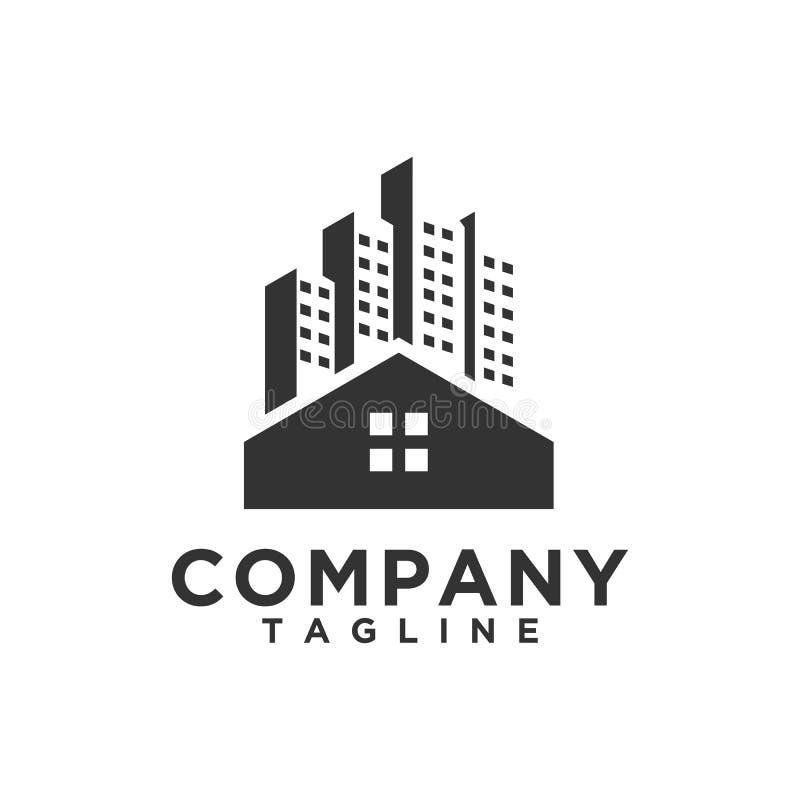 Moderne und einfache Art des Luxus-Real Estate-Logoentwurfs lizenzfreie abbildung