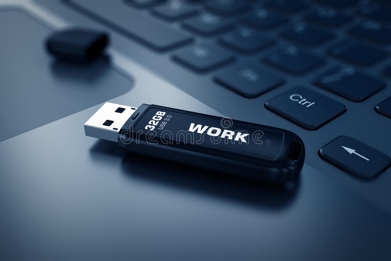 Moderne USB-Flitsaandrijving op laptop toetsenbord vector illustratie