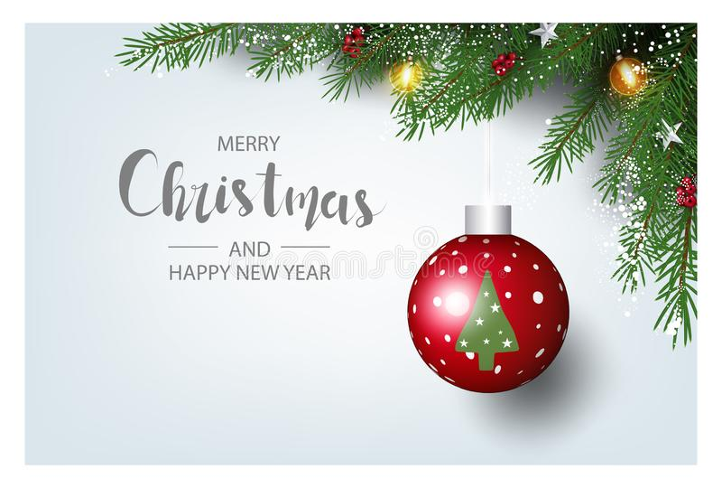 Moderne vakantieachtergrond met kerstboomtakken met versiering met bessen, sterren en snoeprietjes en kerstlampjes stock fotografie