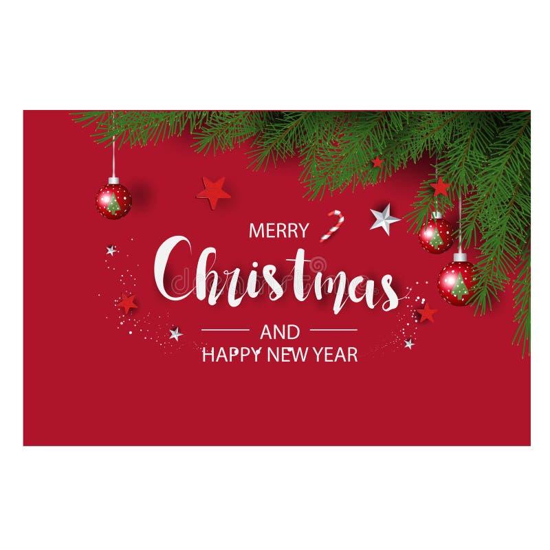 Moderne vakantieachtergrond met kerstboomtakken met versiering met bessen, sterren en snoeprietjes en kerstlampjes stock foto's