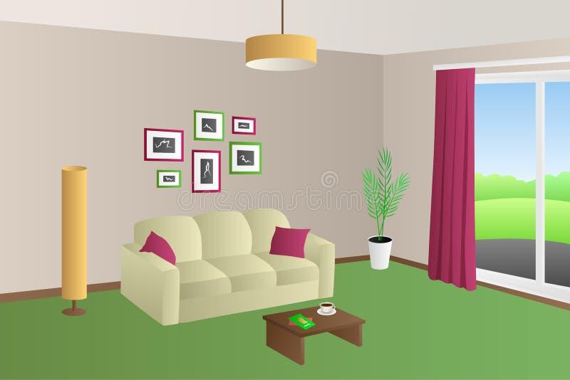 Moderne van de hoofdkussenslampen van de woonkamer binnenlandse beige groene bank rode het vensterillustratie stock illustratie