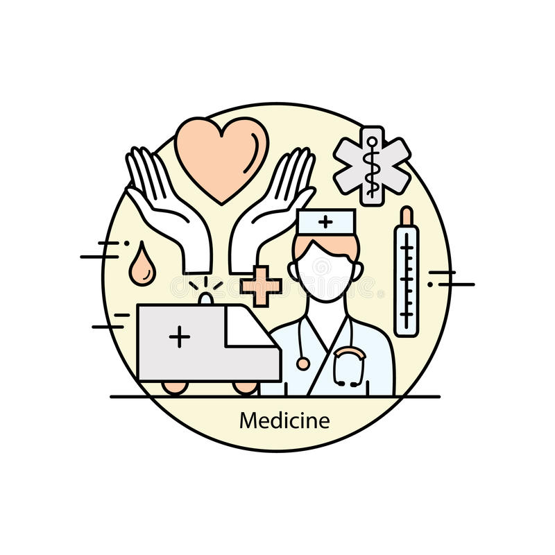Moderne van het de kunstontwerp van de kleuren dunne lijn de geneeskunde en de Gezondheidssymbolen royalty-vrije illustratie