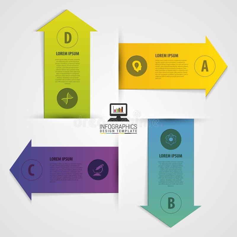 Moderne van het de stijlaantal van de pijlorigami de optiesbanner Vector illustratie Infographics stock illustratie