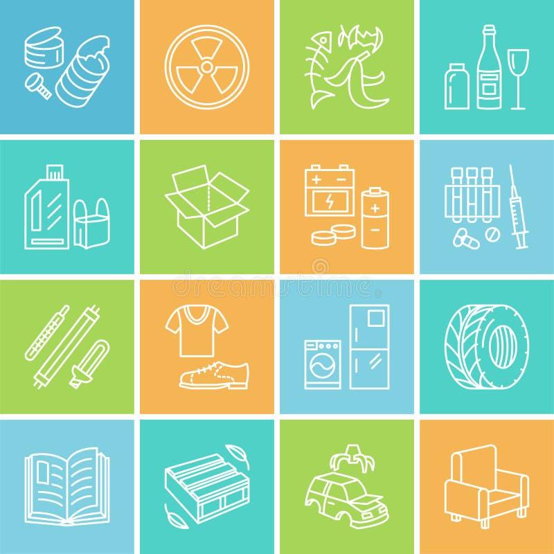 Moderne vector dunne lijnpictogrammen van afval het sorteren, recycling Huisvuilinzameling Rekupereerbaar afval - document, glas, vector illustratie