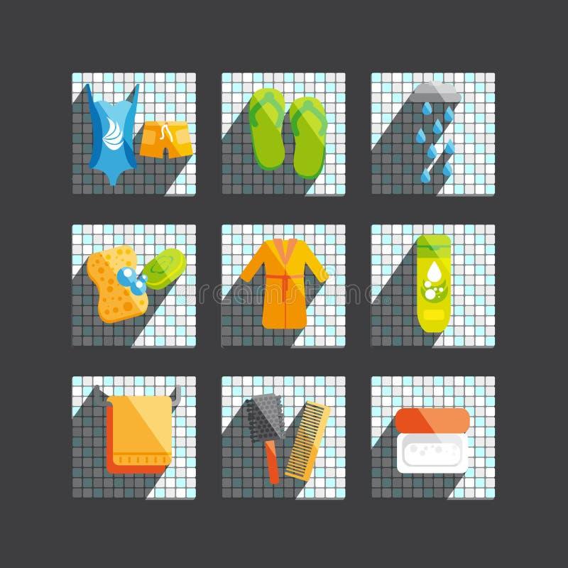 Moderne vector vlakke die pictogrammen met wellness en kuuroord worden geplaatst vector illustratie