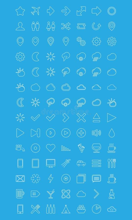 Moderne vectordiePictogrammen in vlakke stijl worden geplaatst stock illustratie